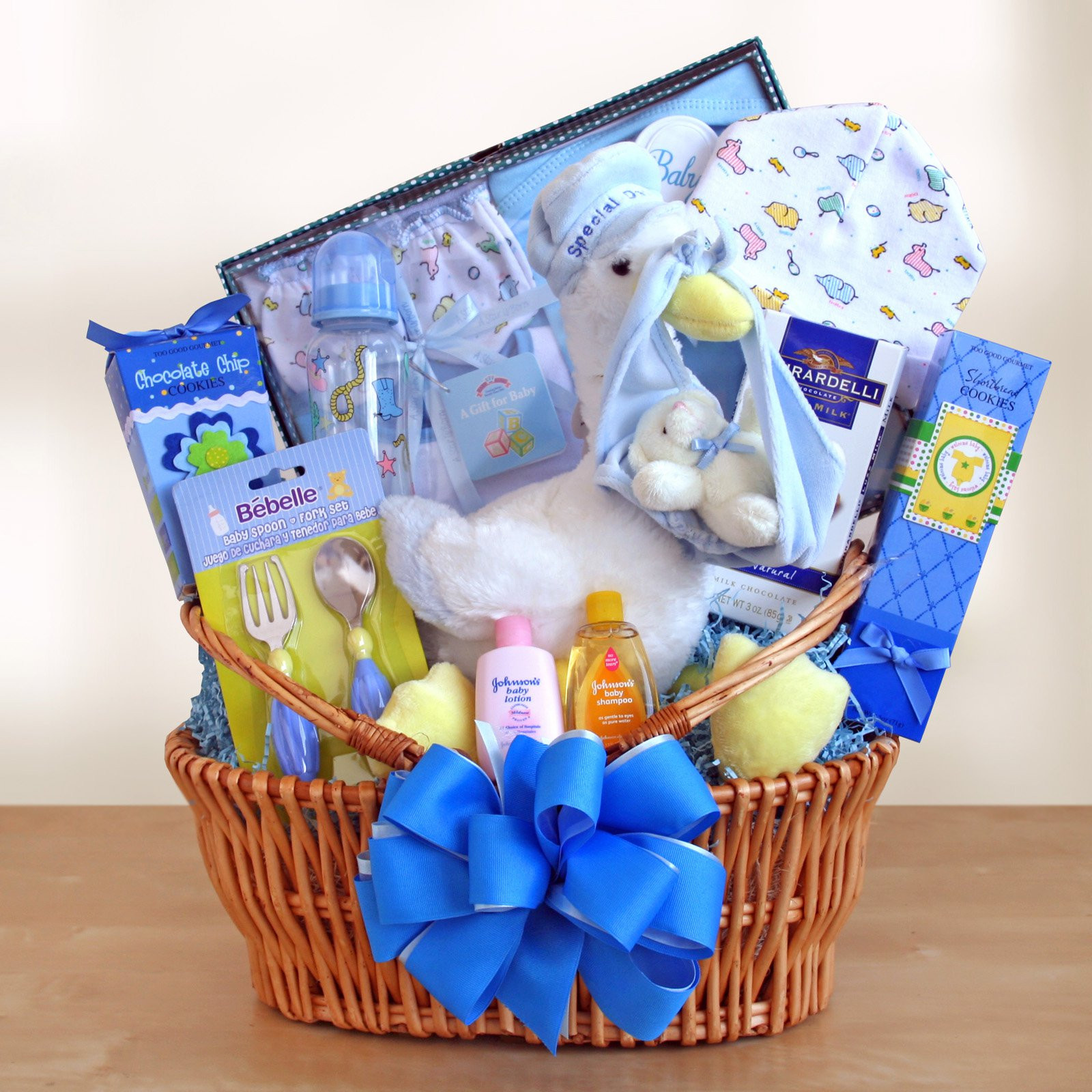 Best ideas about Cute Baby Boy Gift Ideas . Save or Pin Special Stork Delivery Baby Boy Gift Basket Gift Baskets Now.