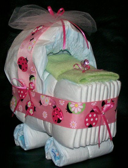 Best ideas about Cute Baby Shower Gift Ideas For A Girl . Save or Pin Ladybug Bassinet Diaper Cake Baby Girl Shower Centerpiece Now.