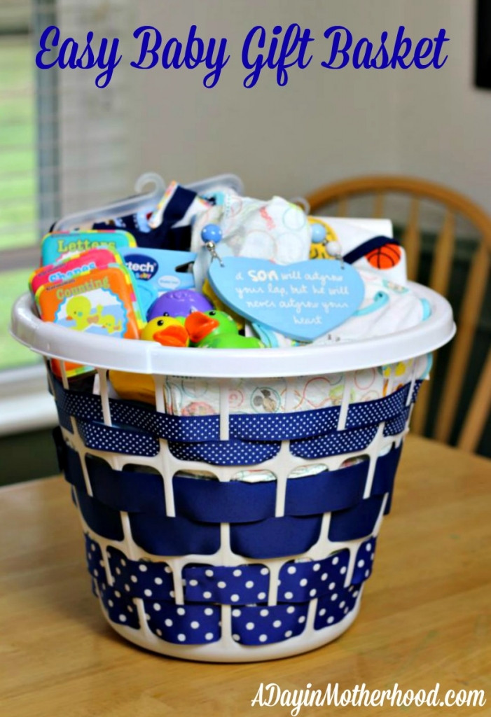 Best ideas about Cute Baby Shower Gift Ideas . Save or Pin Easy Baby Gift Basket Now.