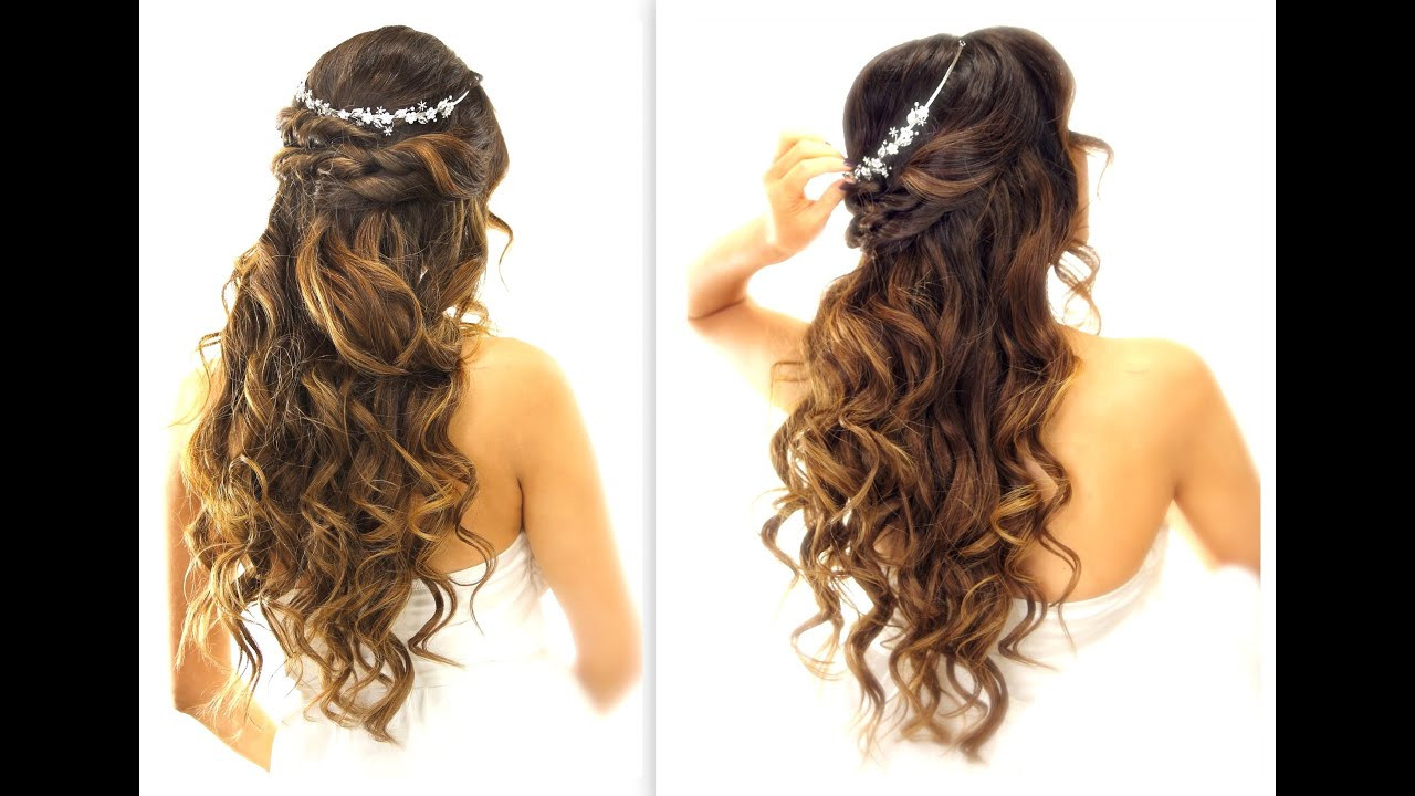 Best ideas about Cute Down Hairstyles For Long Hair . Save or Pin EASY Wedding Half Updo HAIRSTYLE with CURLS Now.