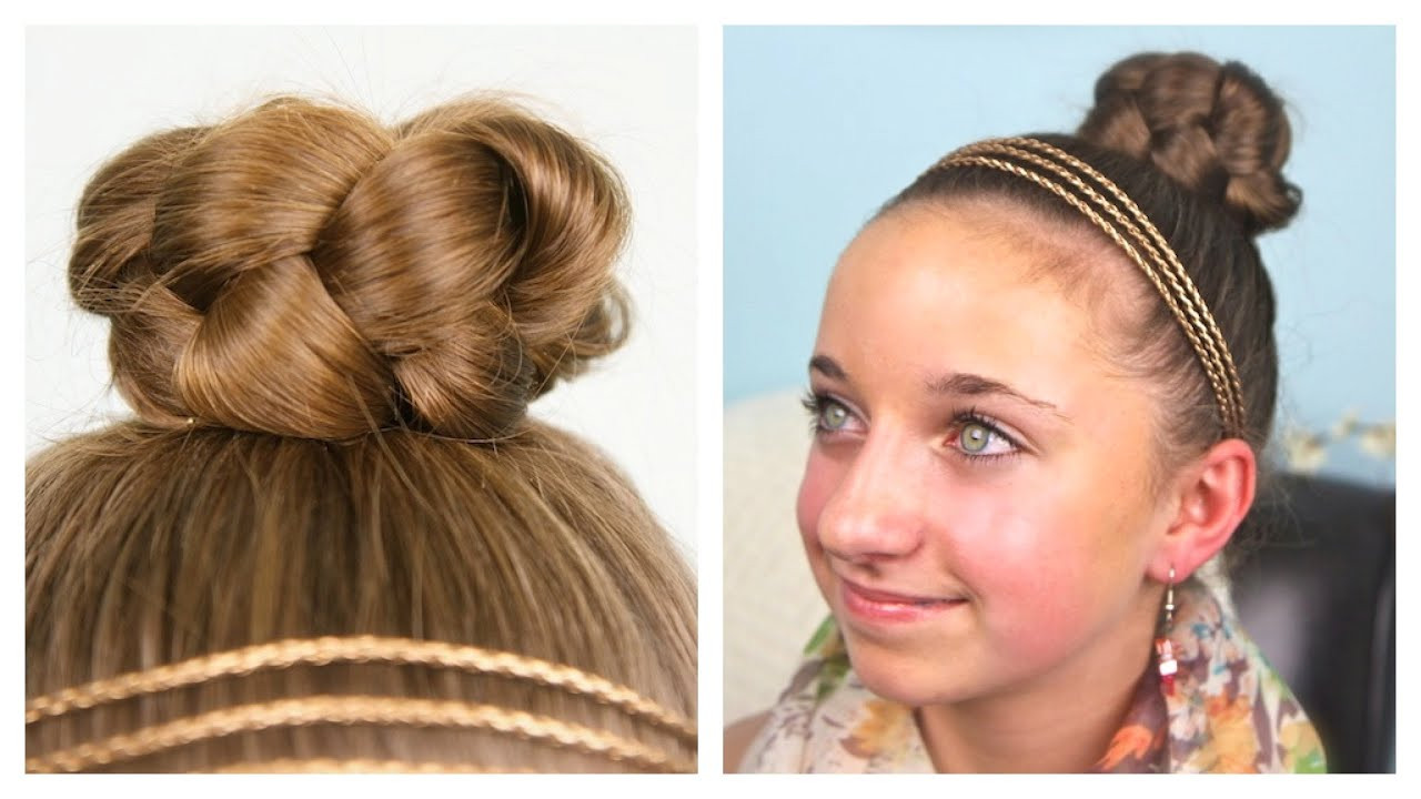 Best ideas about Cute Girl Hairstyles Youtube . Save or Pin Simple Braided Bun Updo Now.