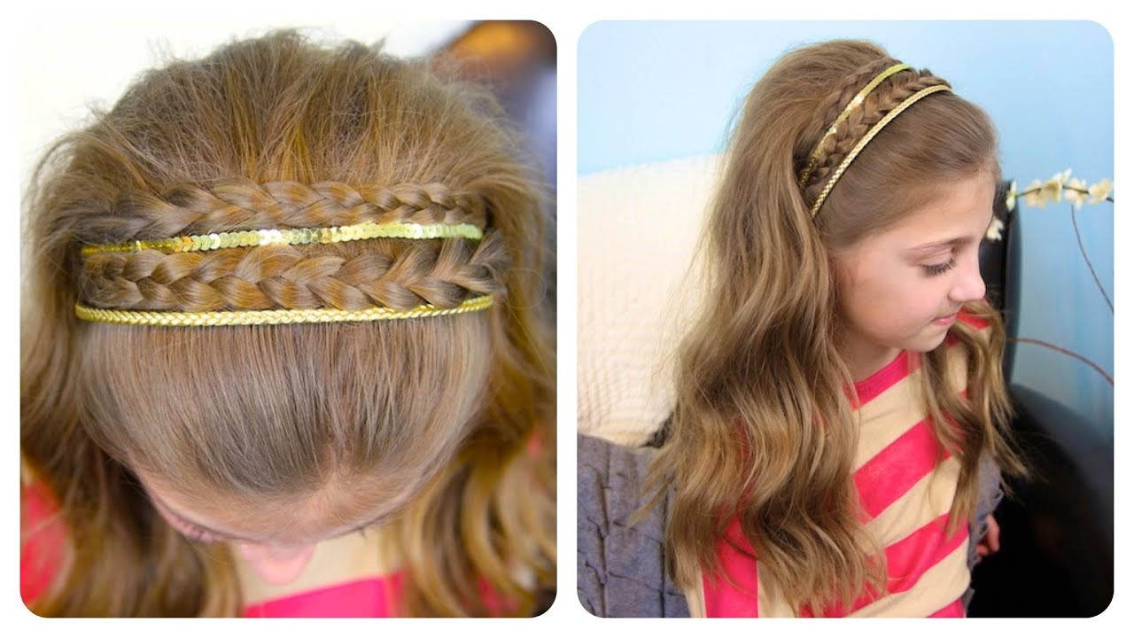Best ideas about Cute Girl Hairstyles Youtube . Save or Pin Double Braid Sparkly Headband Now.