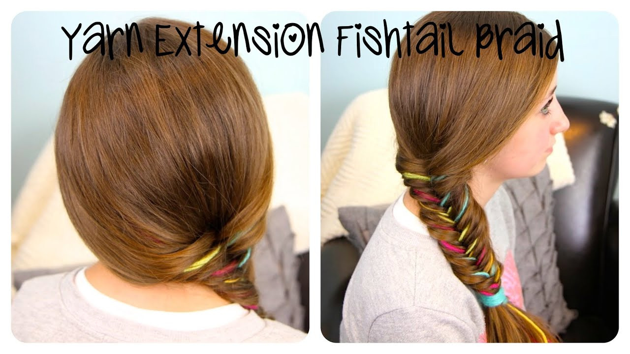 Best ideas about Cute Girl Hairstyles Youtube . Save or Pin Yarn Extension Fishtail Braid Color Highlights Now.