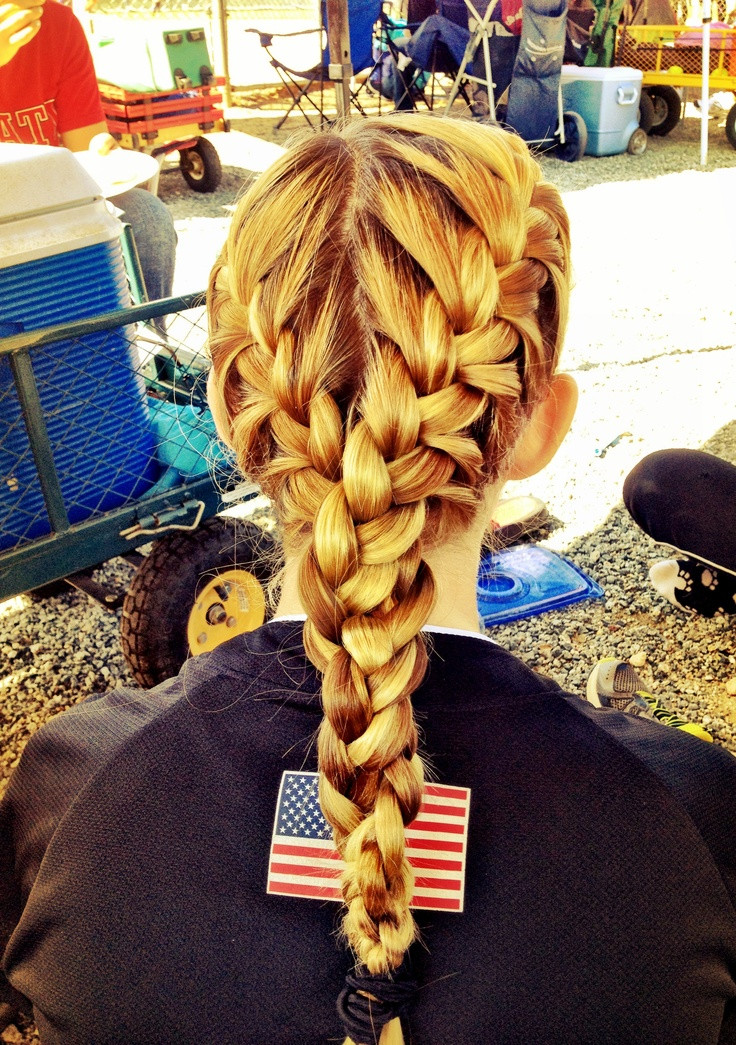 Best ideas about Cute Softball Hairstyles . Save or Pin Niece s hair for her softball game cute Now.
