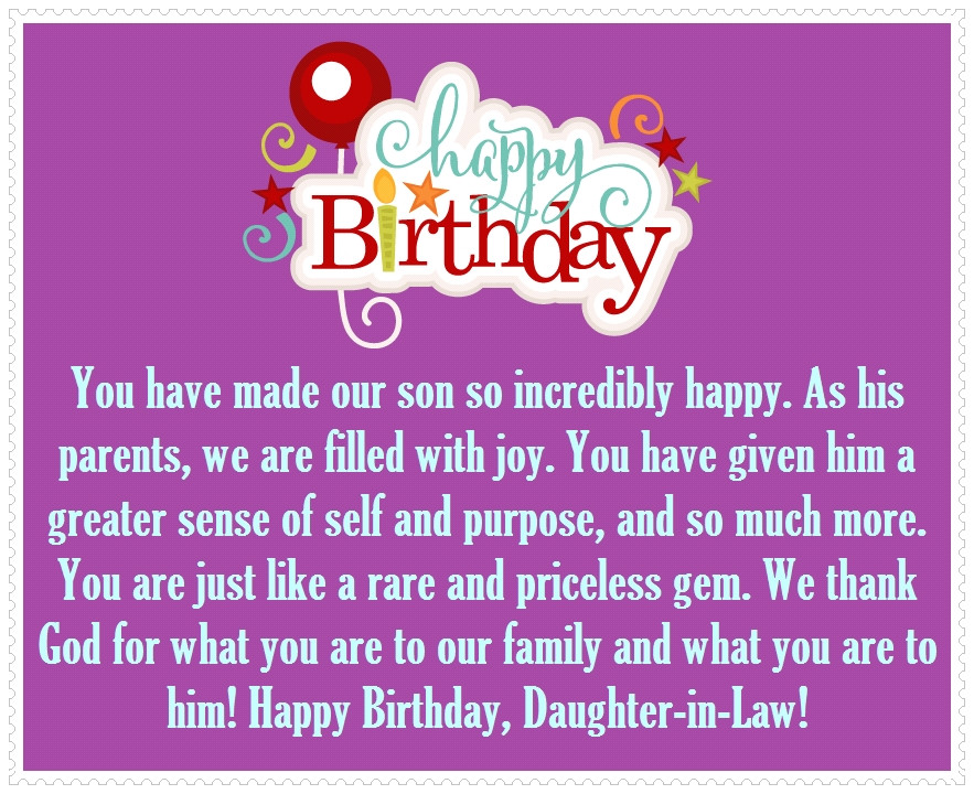 Best ideas about Daughter In Law Birthday Wishes . Save or Pin Daughter in Law Happy Birthday Quotes and Greetings Now.