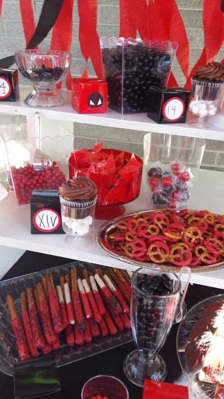 Best ideas about Deadpool Birthday Decorations . Save or Pin Dulces rojo y negro Deadpool birthday party Now.
