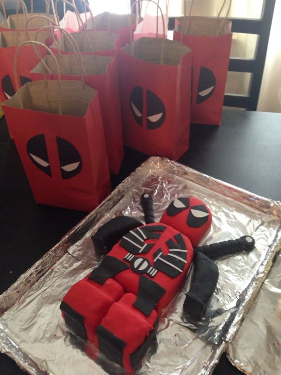 Best ideas about Deadpool Birthday Decorations . Save or Pin Deadpool cake and t bags Birthdays Now.