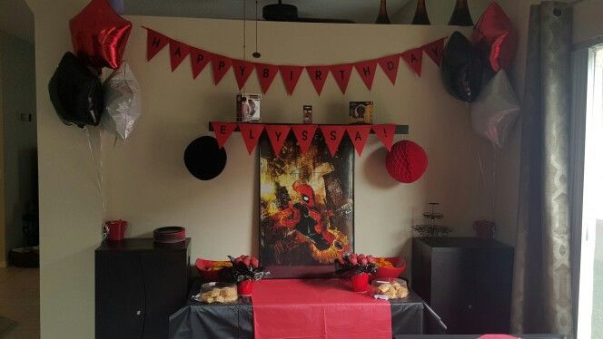 Best ideas about Deadpool Birthday Decorations . Save or Pin My daughters decor for her deadpool party Now.