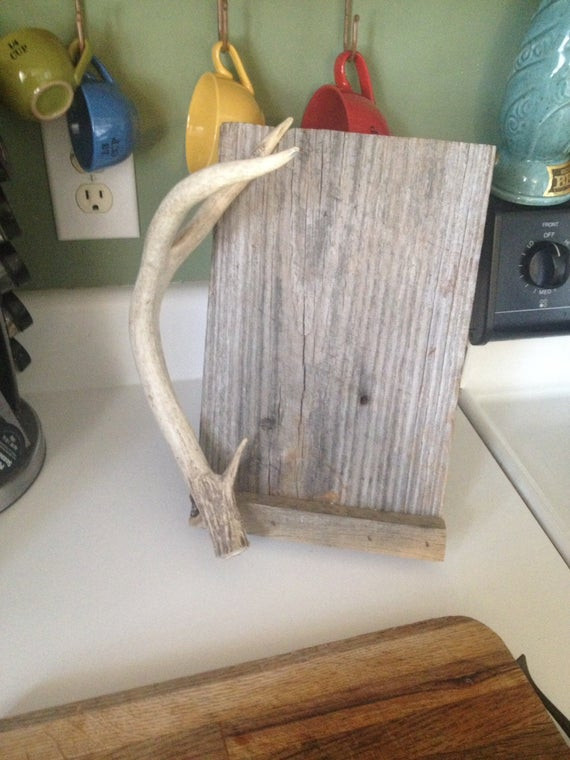 Best ideas about Deer Kitchen Decor . Save or Pin Deer antler Kitchen iPad stand cook book holder by PineNsign Now.