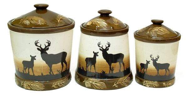 Best ideas about Deer Kitchen Decor . Save or Pin Silhouette Deer 3pc Ceramic Canister Set Now.