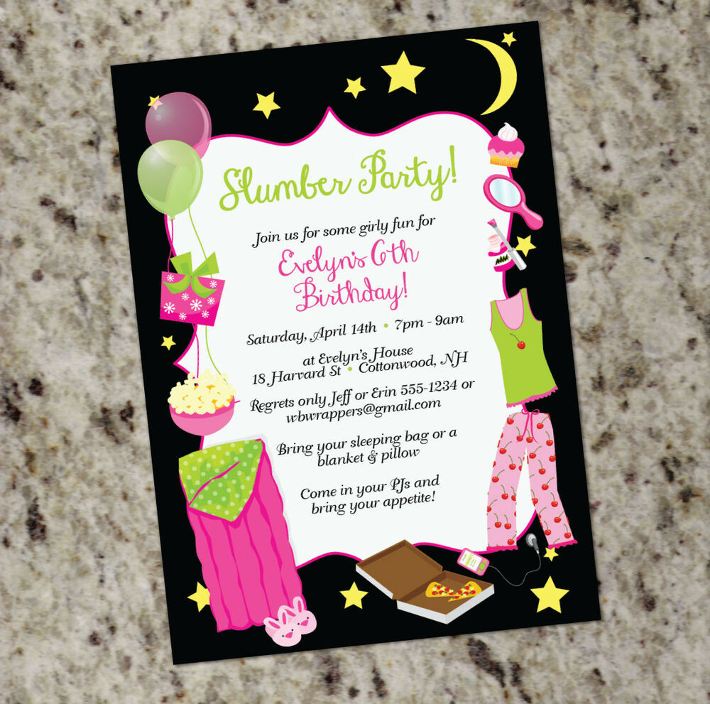 Best ideas about Design Birthday Invitations . Save or Pin Sleepover Slumber Party Themed Invitations Girly Design Now.