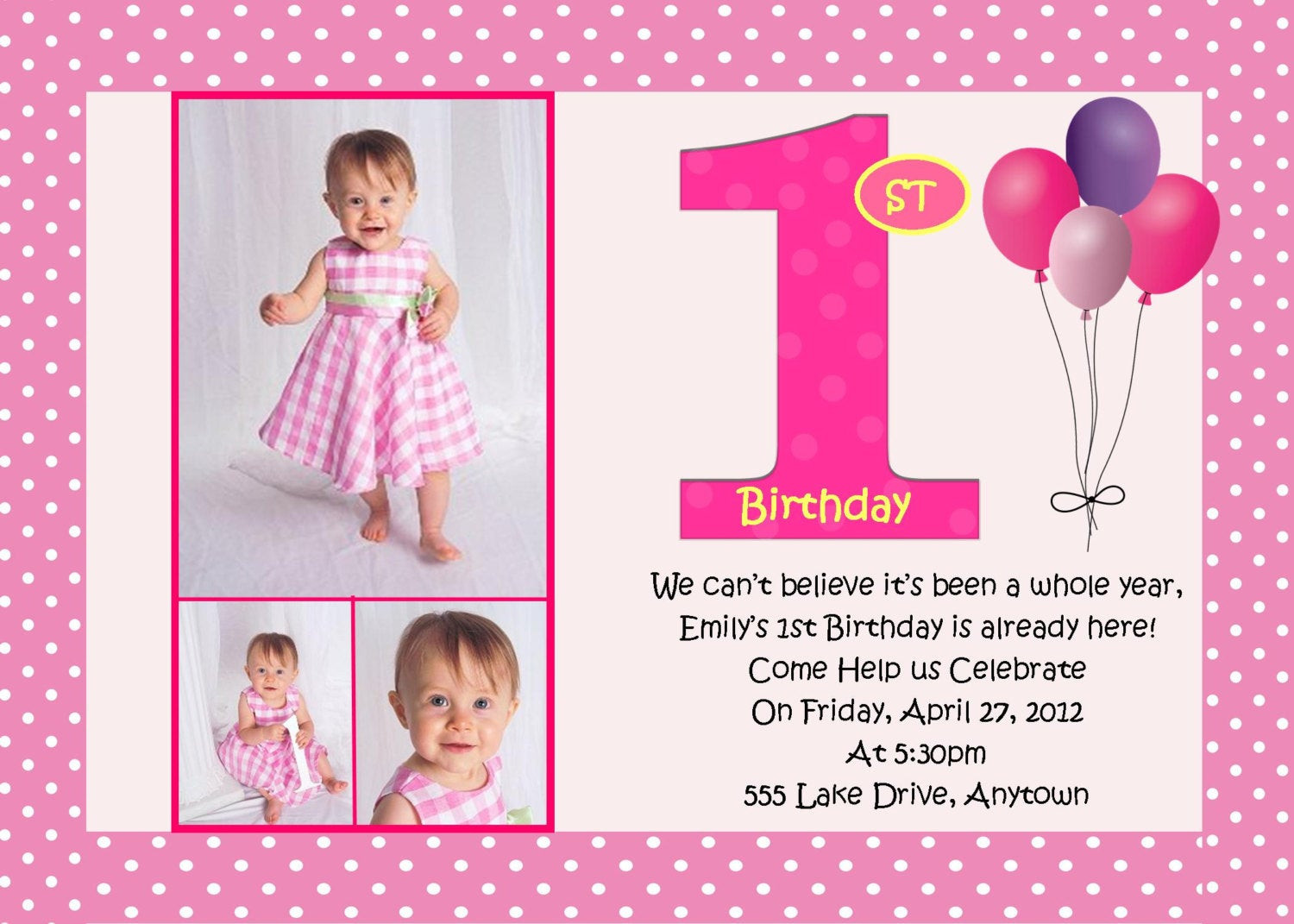 Best ideas about Design Birthday Invitations . Save or Pin First Birthday Pink Birthday Invitation 3 Designs to Choose Now.