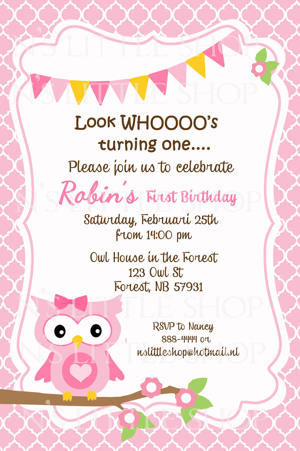 Best ideas about Design Birthday Invitations . Save or Pin Pink OWL birthday invitation card customize by nslittleshop Now.