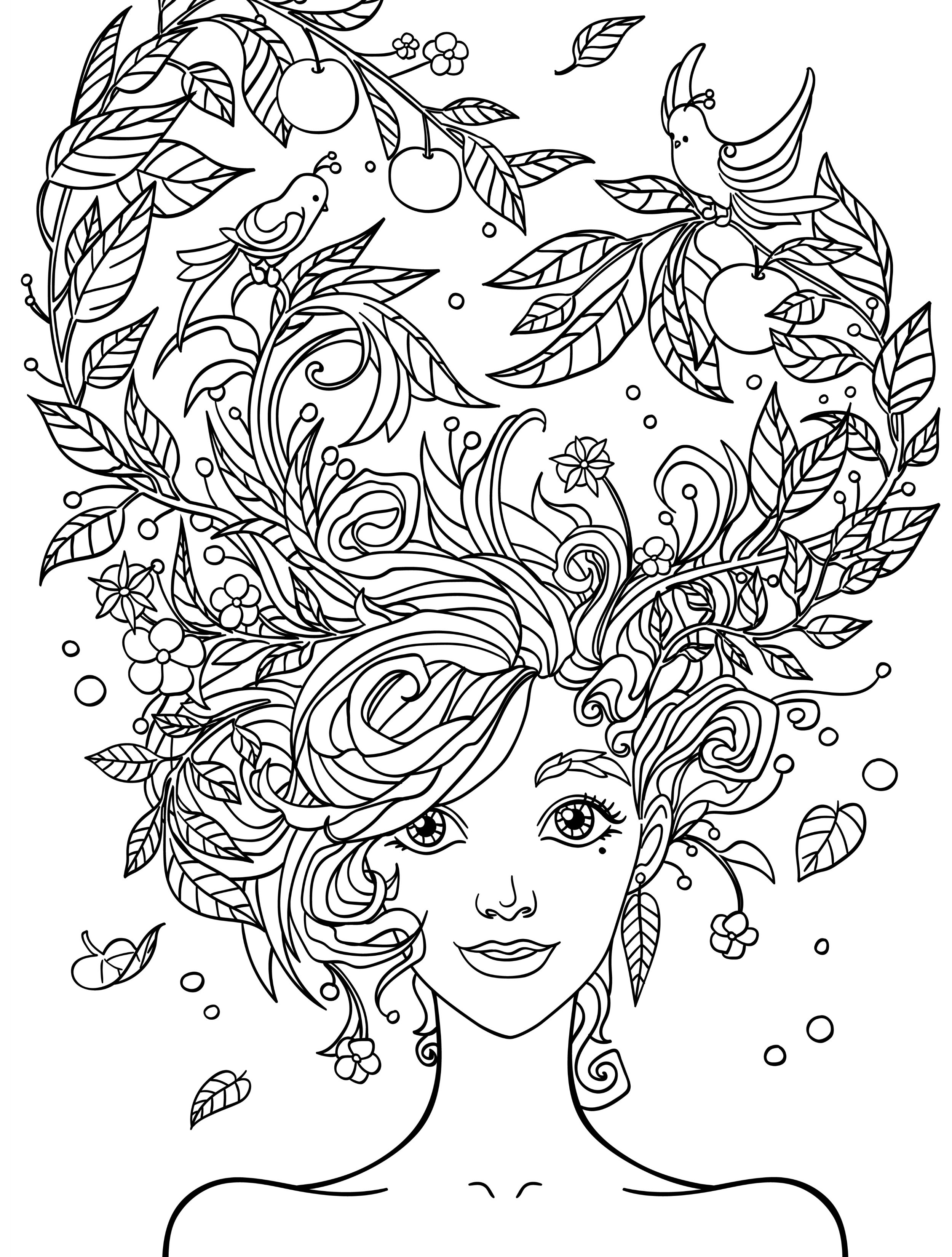 Best ideas about Design Coloring Pages For Girls . Save or Pin 10 Crazy Hair Adult Coloring Pages Page 5 of 12 Nerdy Now.