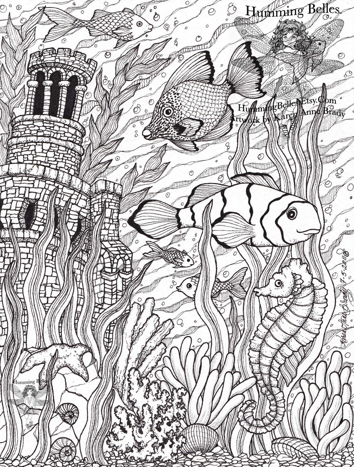 """Best ideas about Detailed Coloring Pages For Adults . Save or Pin Humming Belles"""" New Undersea Illustrations and Now."""