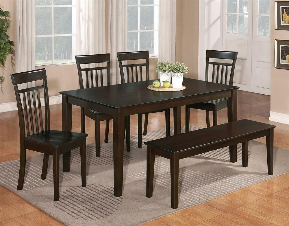 Best ideas about Dining Room Bench . Save or Pin 6 PC DINETTE KITCHEN DINING ROOM SET TABLE w 4 WOOD CHAIR Now.