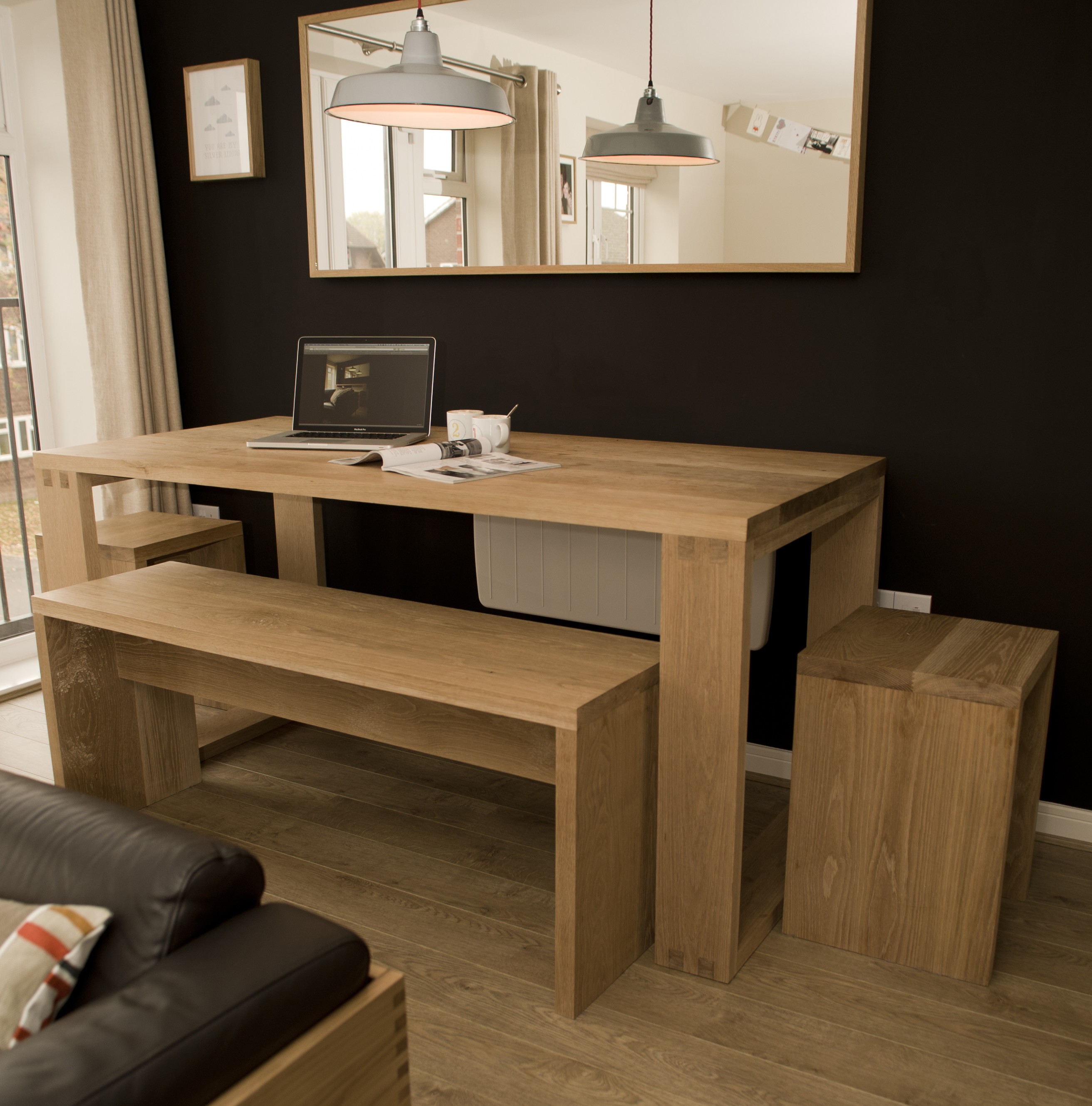 Best ideas about Dining Room Bench . Save or Pin Solid oak dining room table bench and stools Now.
