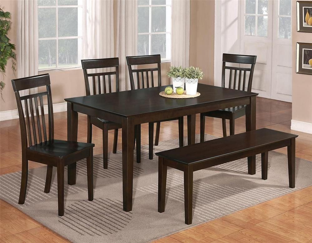 Best ideas about Dining Room Sets With Bench . Save or Pin 6 PC DINETTE KITCHEN DINING ROOM SET TABLE w 4 WOOD CHAIR Now.
