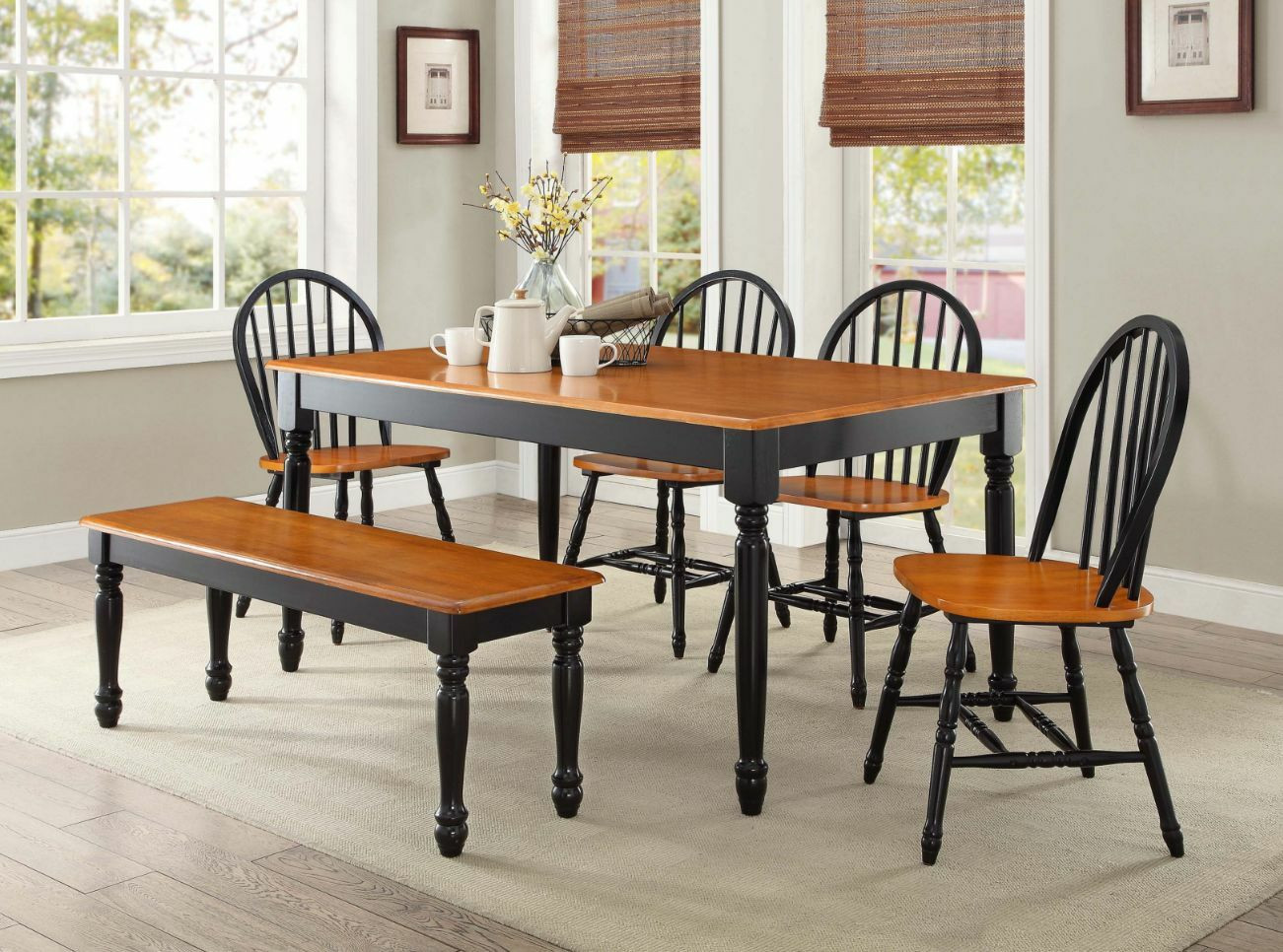 Best ideas about Dining Room Sets With Bench . Save or Pin 6 Pc Farmhouse Dining Room Set Table Bench Chairs Wood Now.