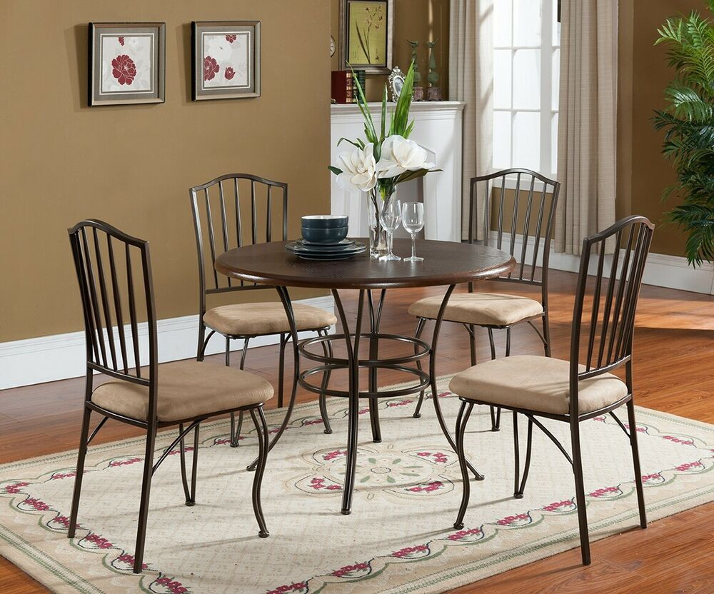 Best ideas about Dining Room Sets With Bench . Save or Pin 5 PC Set Kings Brand Round Wood & Metal Dining Room Now.