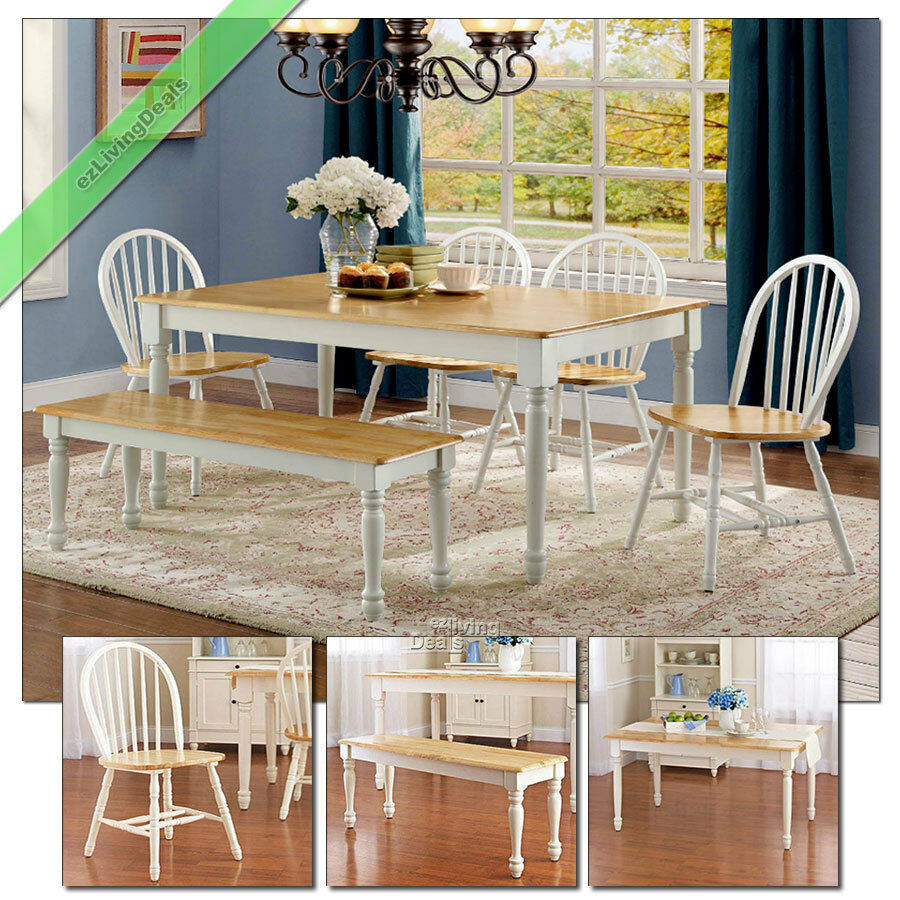 Best ideas about Dining Room Sets With Bench . Save or Pin 6Pc Farmhouse Dining Room Sets Table Bench Chairs Wood Now.