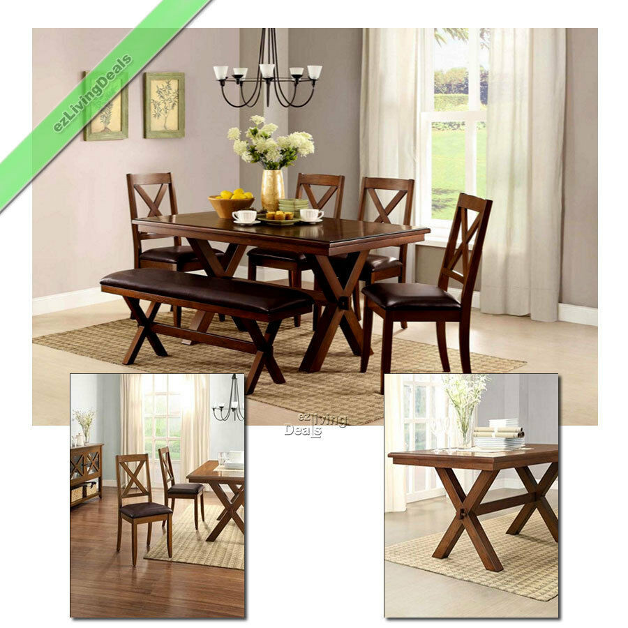 Best ideas about Dining Room Sets With Bench . Save or Pin 6 Piece Dining Set Maddox Table Chairs with Bench Wood Now.