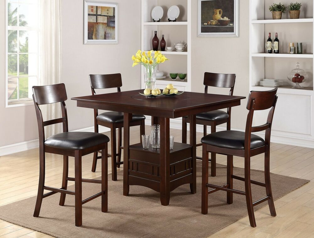 Best ideas about Dining Table With Storage . Save or Pin 5PC Dark Rosy Brown Built in Lazy Susan Square Storage Now.