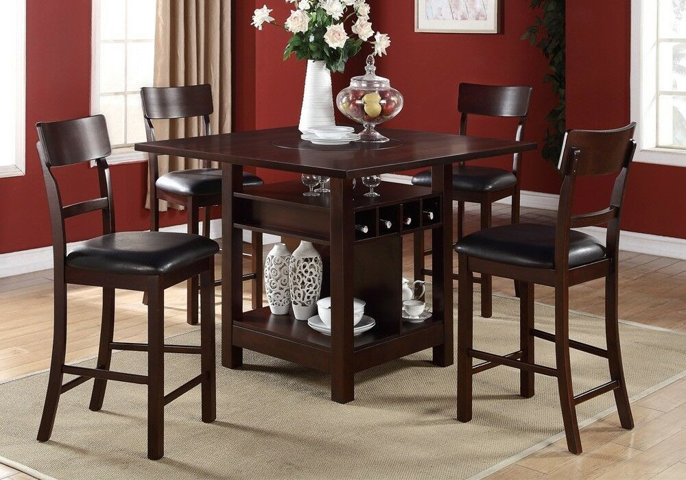 Best ideas about Dining Table With Storage . Save or Pin 5 Pcs Counter Height Dining Set Built in Lazy Susan Table Now.