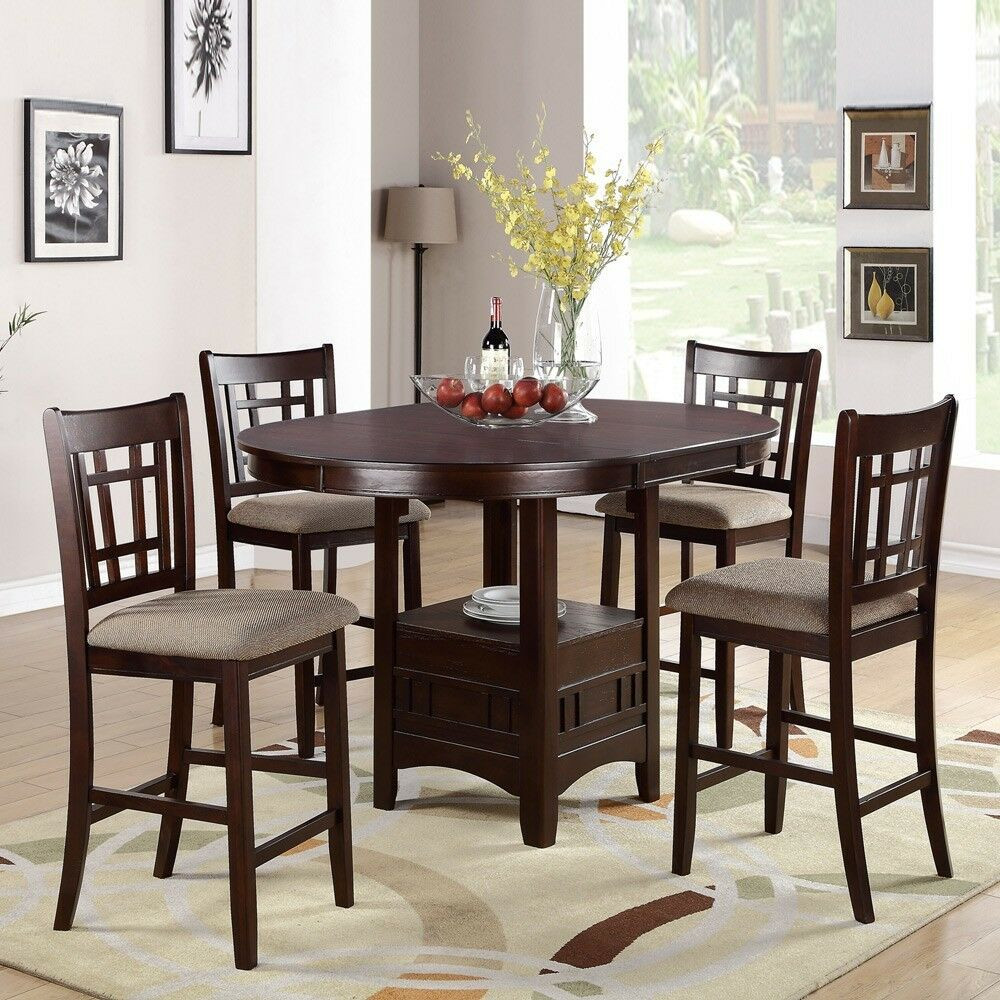 Best ideas about Dining Table With Storage . Save or Pin 5 PC Dark Rosy Brown Counter Height Dining Set Round Now.