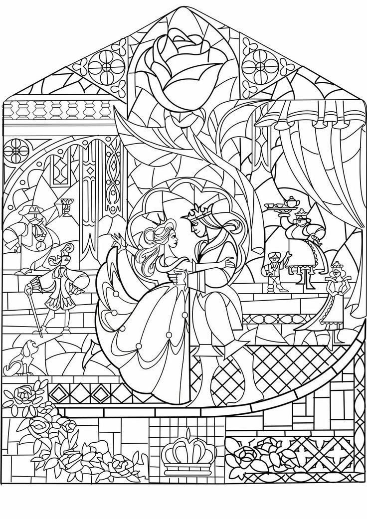 Best ideas about Disney Adult Coloring Books . Save or Pin beauty and the beast stained glass Google Search disney Now.