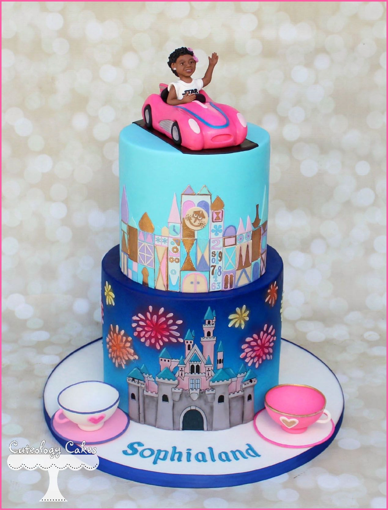 Best ideas about Disneyland Birthday Cake . Save or Pin Disneyland themed cake with It s A Small World Teacups Now.
