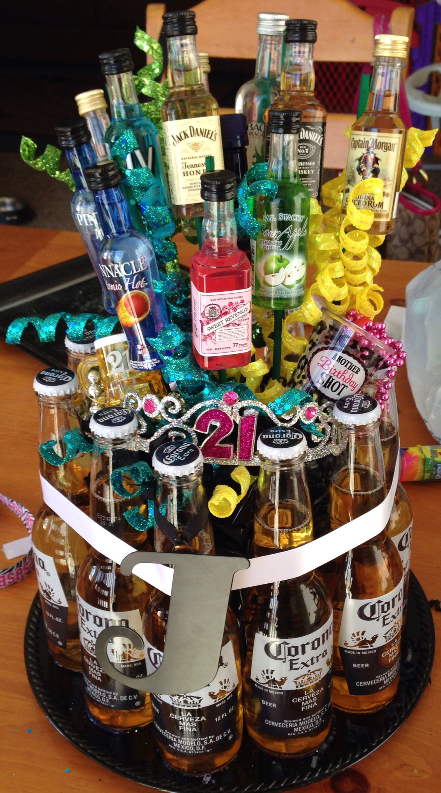 Best ideas about DIY Alcohol Gift Baskets . Save or Pin DIY 21st birthday alcohol bouquet instead of a pot or Now.