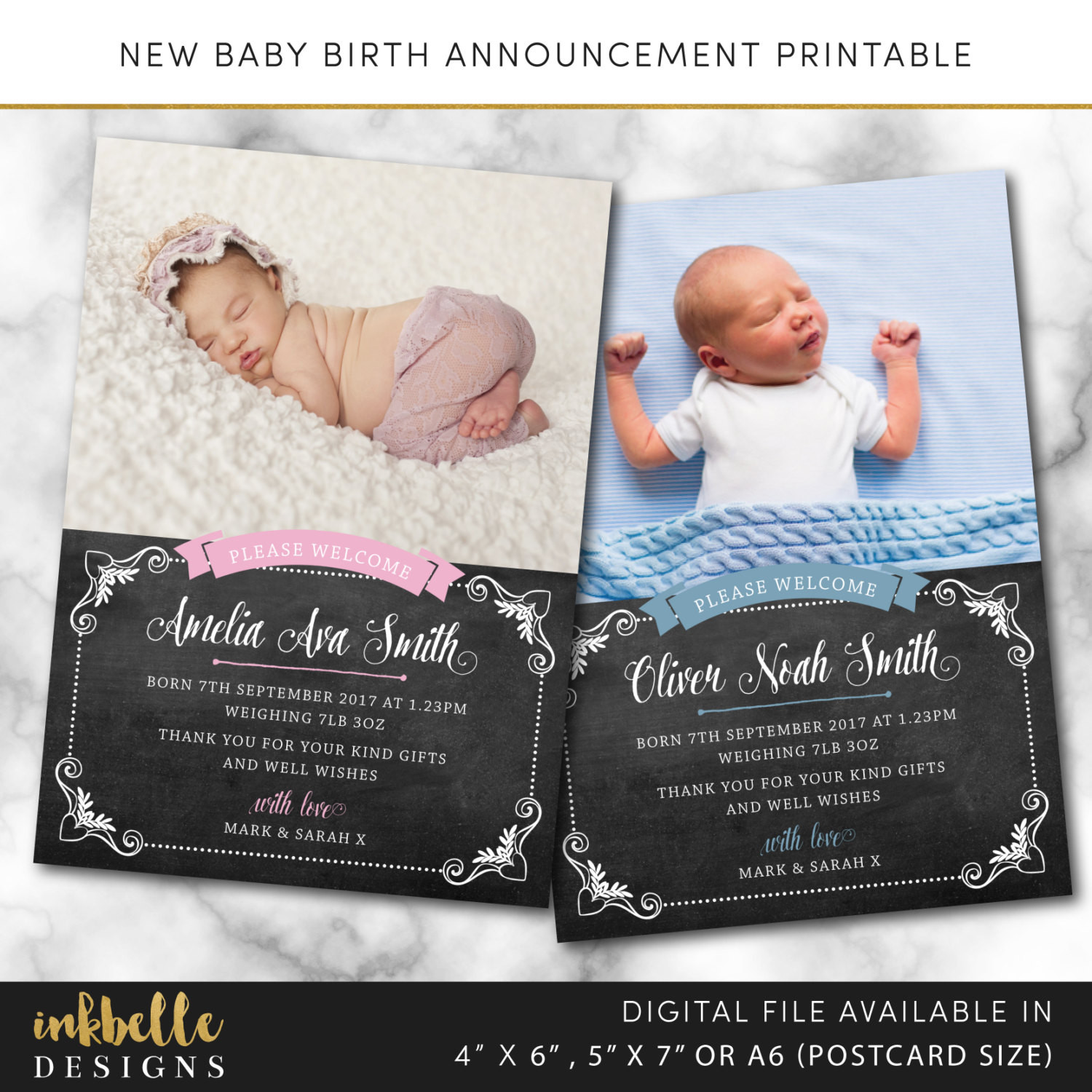 Best ideas about DIY Baby Announcement . Save or Pin Birth announcement card Digital File PDF DIY baby thank Now.
