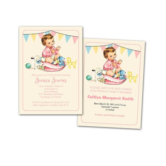 Best ideas about DIY Baby Announcement . Save or Pin DIY vintage baby girl shower invitation baby announcement Now.