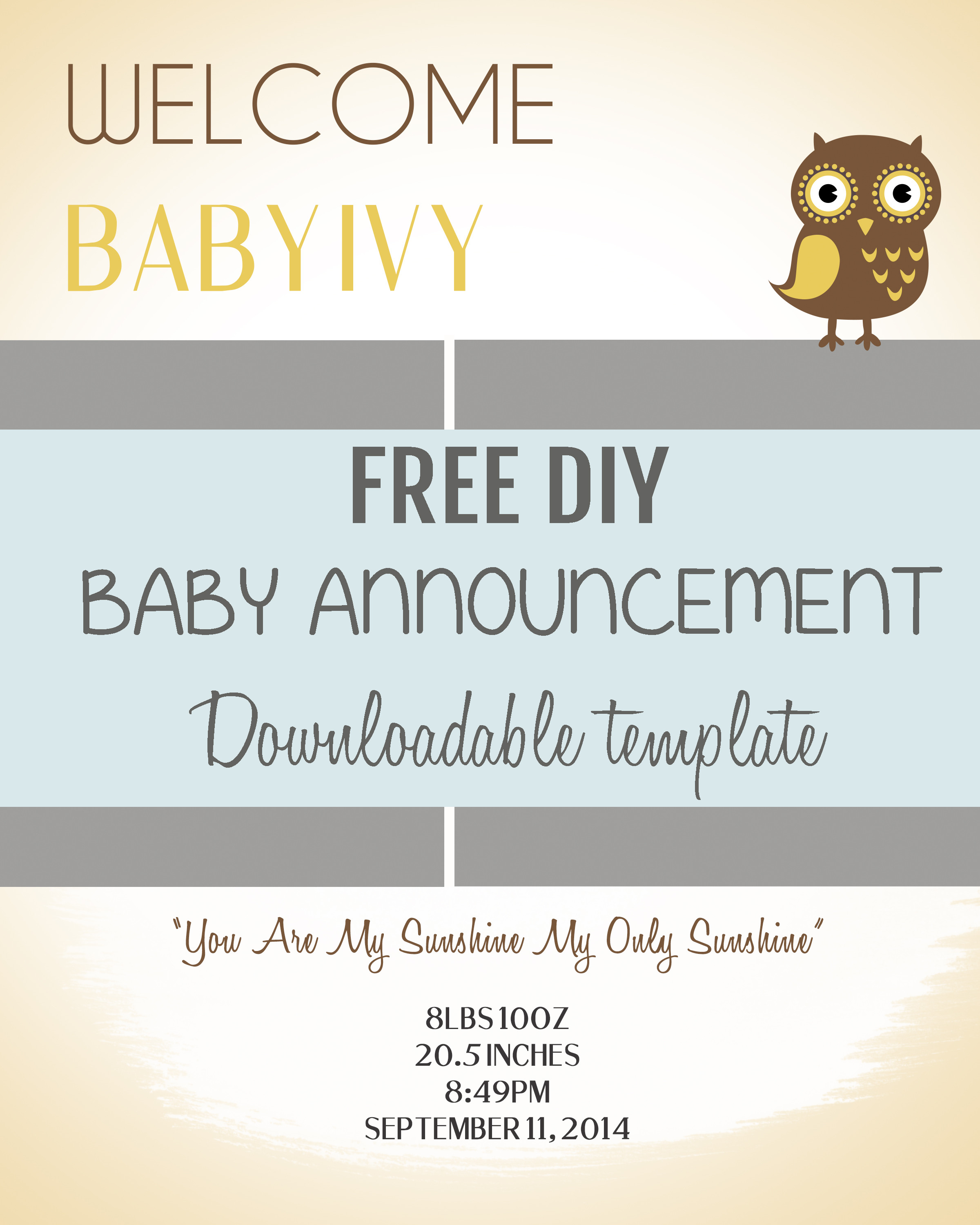 Best ideas about DIY Baby Announcement . Save or Pin DIY Baby Announcement Template Free PSD Download Now.