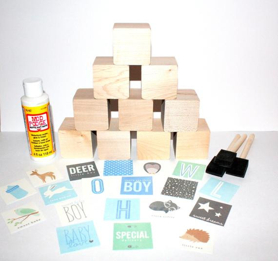 Best ideas about DIY Baby Blocks For Baby Shower . Save or Pin DIY Baby Shower Craft Wooden Baby Blocks Baby Boy Shabby Now.