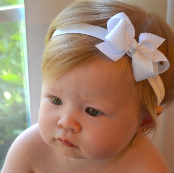 Best ideas about DIY Baby Bow Headband . Save or Pin White Baby Bow Headband Christmas Baptism Wedding Baby Now.