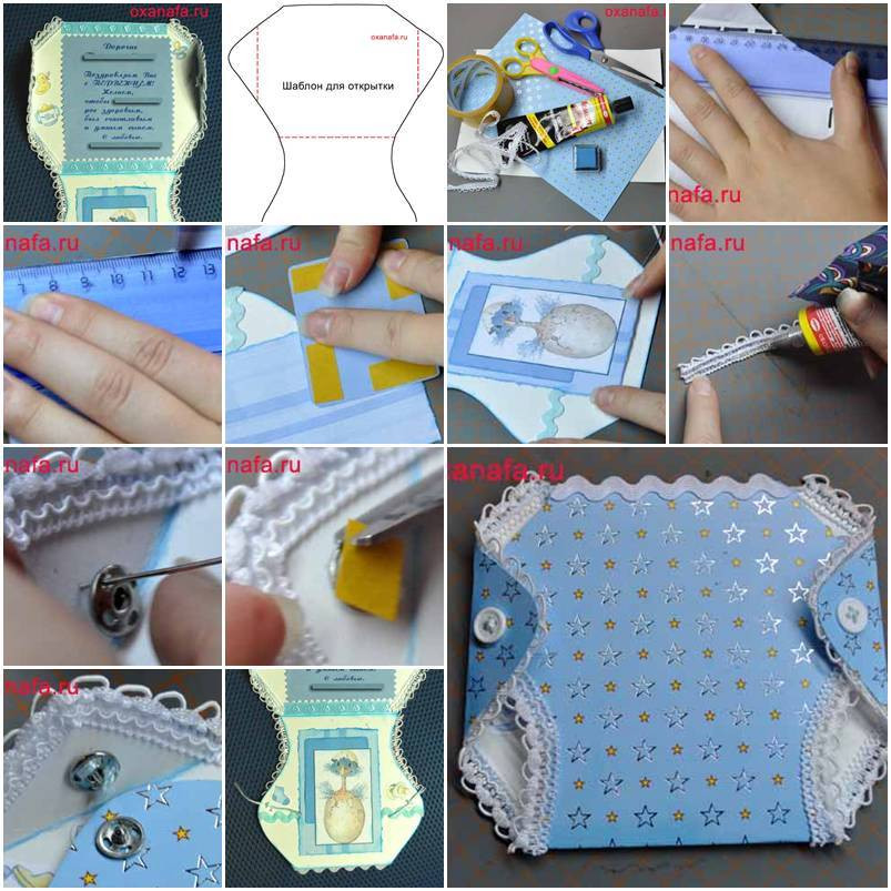 Best ideas about DIY Baby Card . Save or Pin DIY Cute Diaper Shaped Baby Card Now.