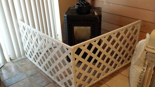 Best ideas about DIY Baby Fence . Save or Pin Diy hinged baby fence for freestanding stove Used vinyl Now.