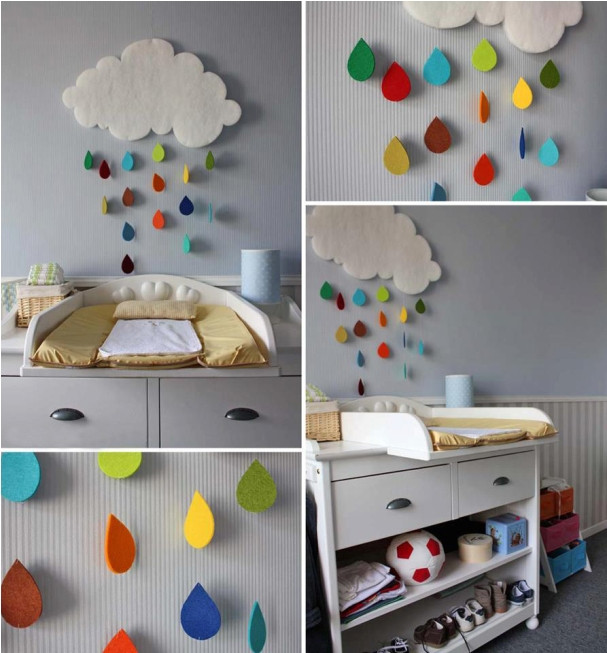 Best ideas about DIY Baby Room Decoration . Save or Pin diy baby room decor rainy cloud raindrop felt colourful Now.