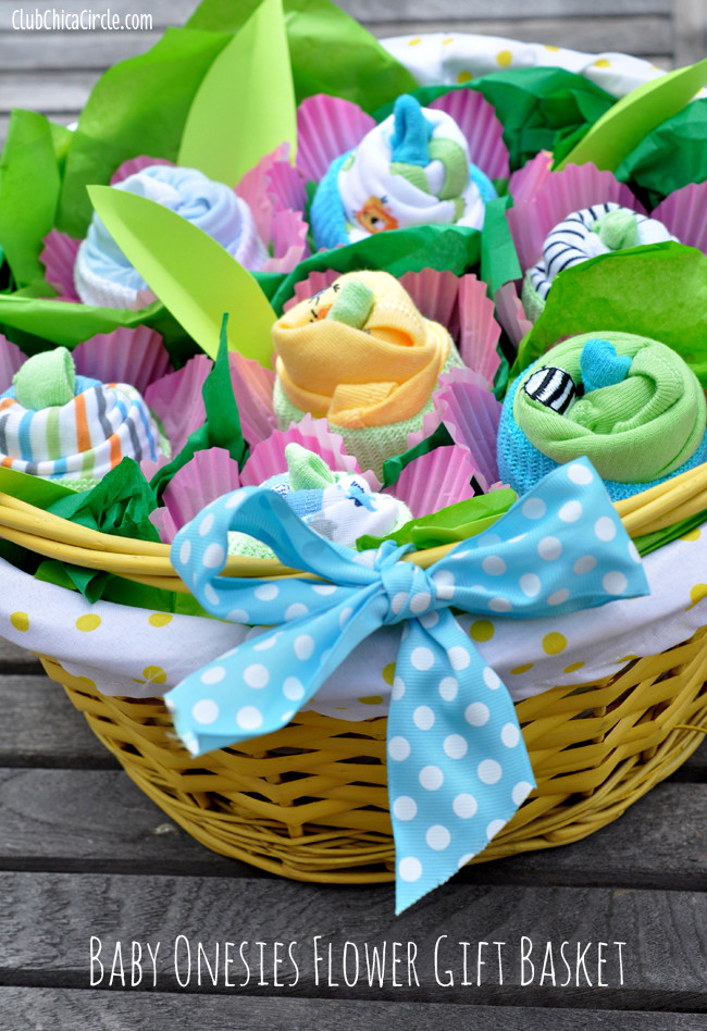 Best ideas about Diy Baby Shower Gift Basket Ideas . Save or Pin How to Make a Baby esie Flower Gift Basket Now.