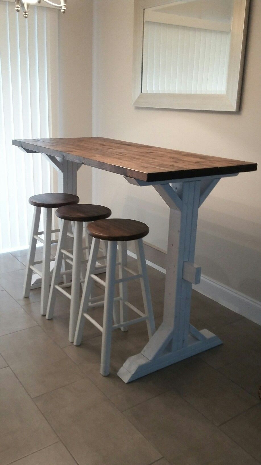 Best ideas about DIY Bar Height Table . Save or Pin Farmhouse style bar height table DIY Now.