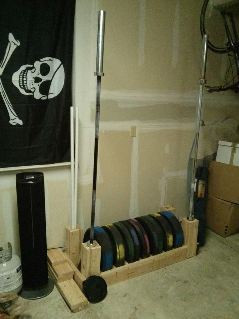 Best ideas about DIY Barbell Rack . Save or Pin DIY Bumper Plate and Barbell Storage photo only Now.