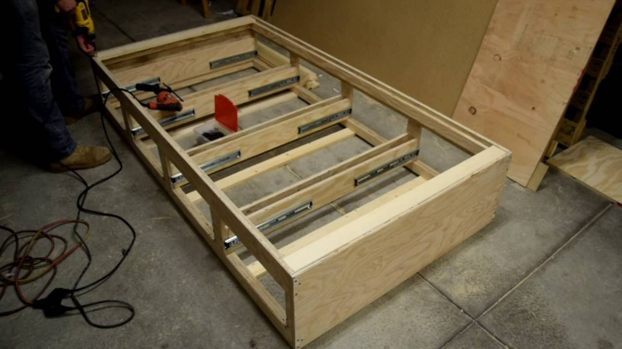 Best ideas about DIY Bed With Drawers . Save or Pin How to make a twin bed with drawers by DIY with Chris Now.