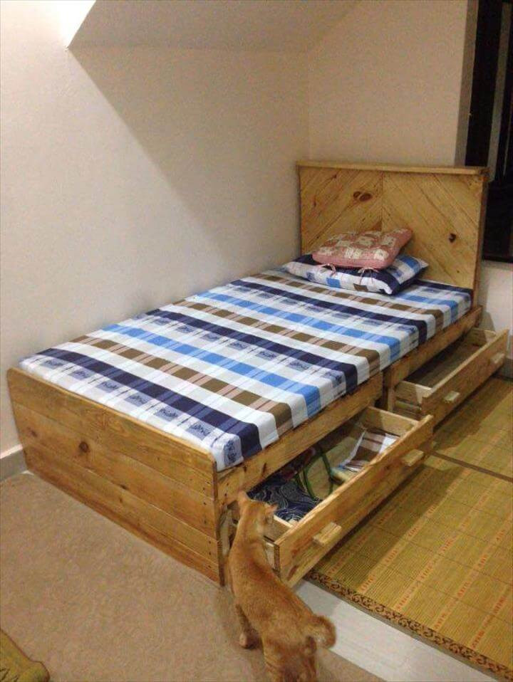 Best ideas about DIY Bed With Drawers . Save or Pin DIY Pallet Bed with 2 Drawers Now.