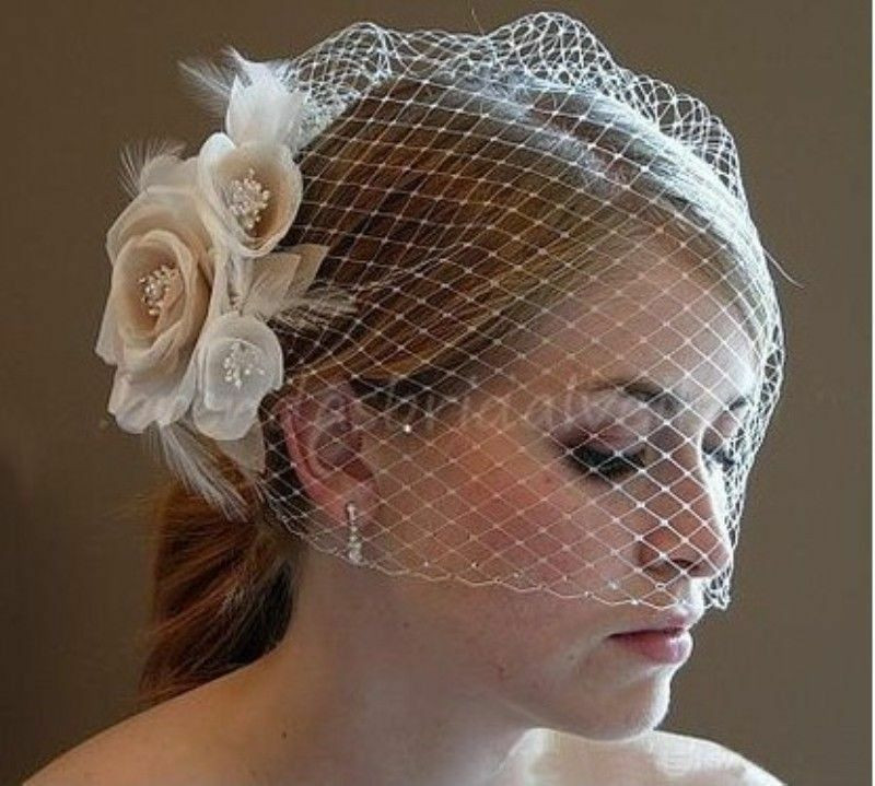 Best ideas about DIY Birdcage Veils . Save or Pin Champagne White Fascinator Wedding Bridal Birdcage Face Now.