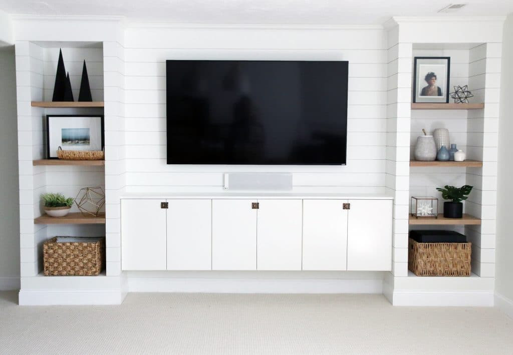 Best ideas about DIY Built Ins . Save or Pin DIY Shiplapped Built Ins Finished and Styled Chris Now.