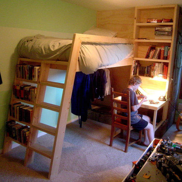 Best ideas about DIY Bunk Bed Ladder . Save or Pin Loft beds with bookshelf ladders Now.