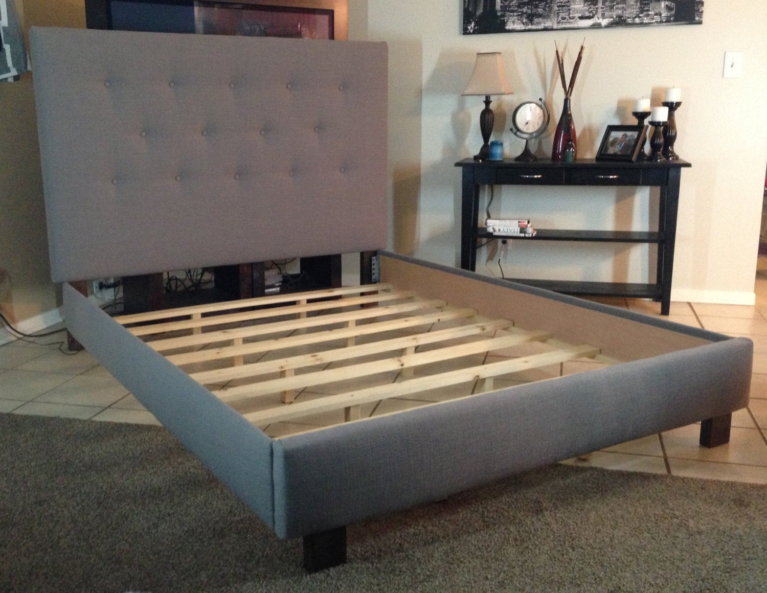 Best ideas about DIY California King Bed Frame . Save or Pin Queen or full size headboard and bed frame Gray Linen by Now.
