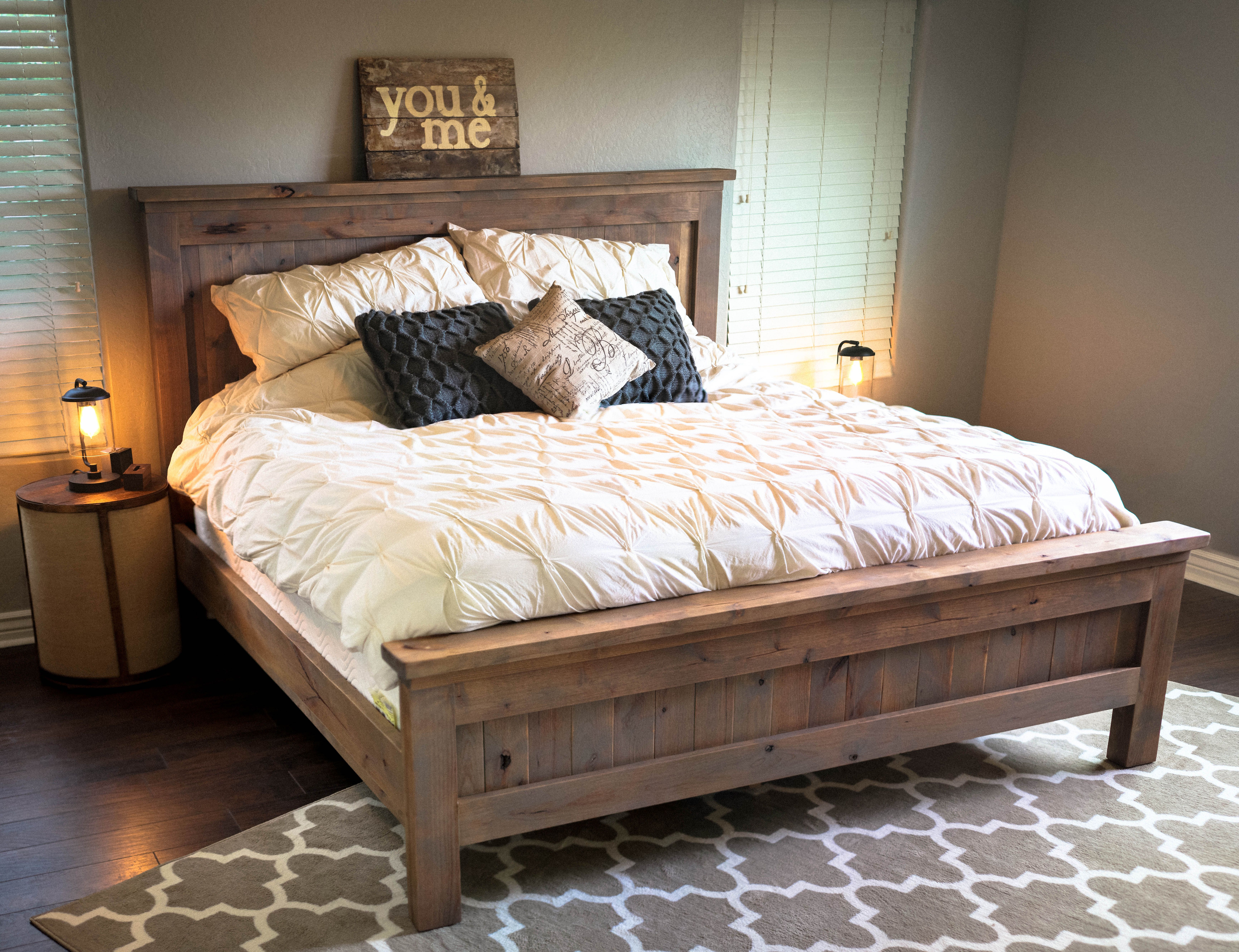 Best ideas about DIY California King Bed Frame . Save or Pin Farmhouse King Bed knotty alder and grey stain Now.